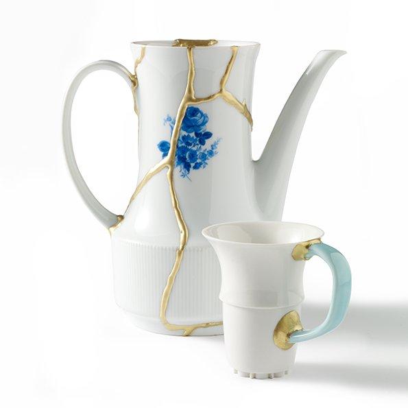 Teekanne geklebt mit Porzellankleber gold