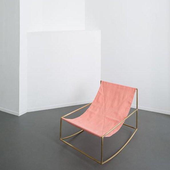 Muller van Severen f Valerie Objects rocking chair brass pink