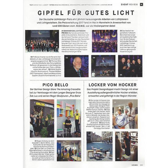 Artikel-Seite über Pico Balla von Enzo Zak Lux Vernissage im Home Magazin Titel September 2017