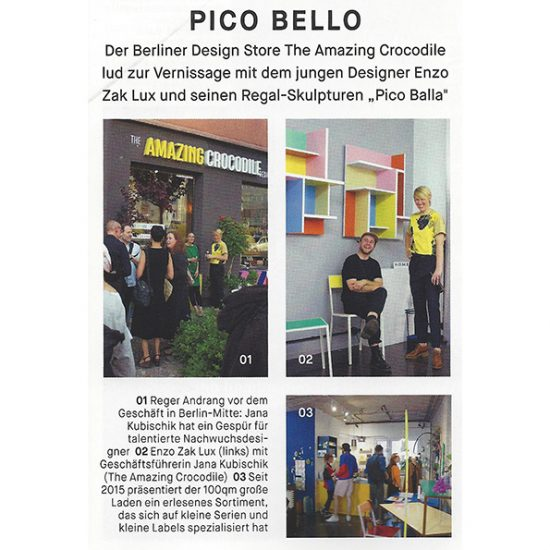 Artikel über Pico Balla von Enzo Zak Lux Vernissage im Home Magazin Titel September 2017